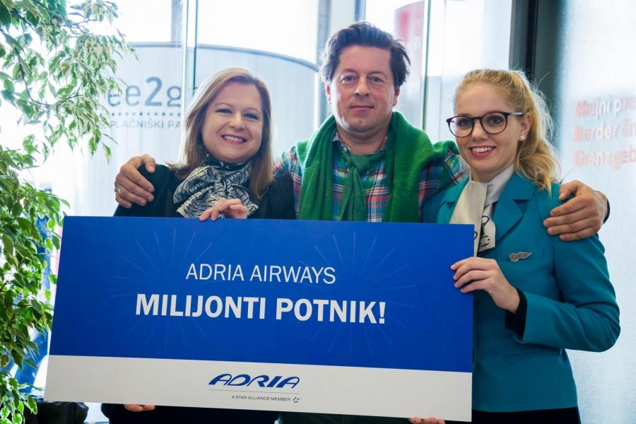 Adria Airways danes pozdravila milijontega potnika