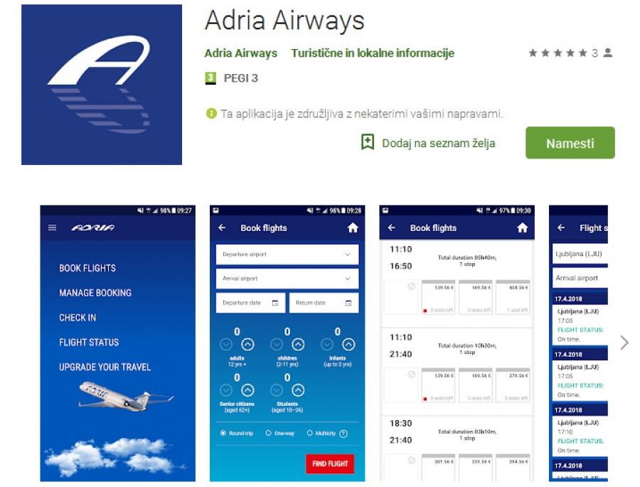 Z mobilno aplikacijo Adria App potovanja z Adrio Airways na dlani